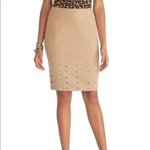 Tan Pencil Skirt with Gold Details